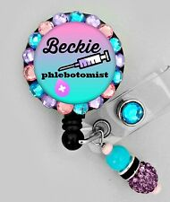 PHLEBOTOMIST ID REEL BLING BADGE HOLDER with Charm