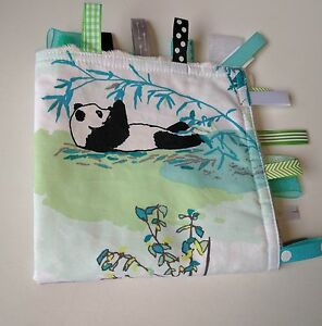 Taggie Blanket panda bears gender neutral cream dimple minky backing
