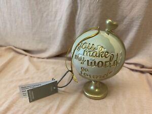 Next Globe Hanging Decoration You Make My World Go Round Heart Resin Ornament