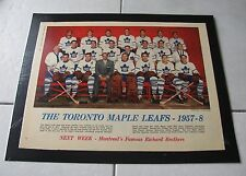 STAR WEEKLY 1957-58 TORONTO MAPLE LEAFS TEAM PICTURE LAMINATED ON POSTER / NICE