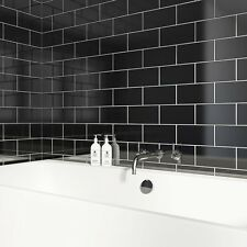 Sample of subway gloss flat black metro ceramic wall tiles 10 x 20cm