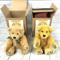 2 Vintage Mary Meyer Goat Mohair Collection Teddy Bears Jointed Plush Stuffed
