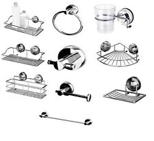 100% STEEL SUCTION CUP NON RUST BATHROOM ACCESSORIES TOILET STORAGE RACK CADDY