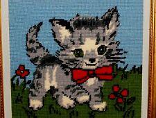 Christas Gift DANEMARK Kitty CAT Kitten Bow Grass Flower NEEDLEPOINT CANVAS Wool