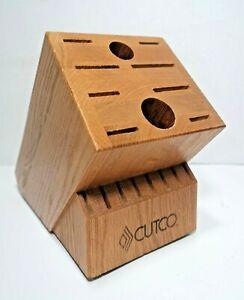CUTCO Homemaker 10 + 8, 18 Slot Solid Honey Oak Knife Block Only Made in USA-VGC