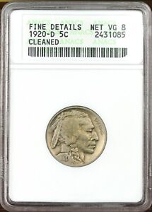 1920-D Buffalo Nickel - Graded Fine details-cleaned by ANACS