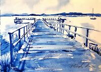 "ORIGINAL watercolour Rockley Hamworthy pier Dorset blue 15"" x 11""  Marilyn Allis"