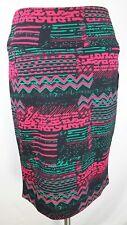 NWT LuLaRoe LARGE CASSIE Pencil Skirt Aztec PINK Green BLACK Background Neon L
