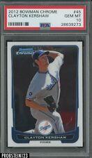 2012 Bowman Chrome Clayton Kershaw Los Angeles Dodgers RC Rookie PSA 10