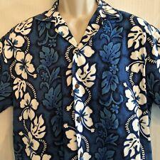 Vtg Kys Hawaiian Aloha Friday Shirt Mens Large Blue White Hibiscus Made in USA