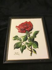 Vintage Crystal Skelley 3D Floral Mixed Art  Red Rose Dew Hand Crafted Sig 1986