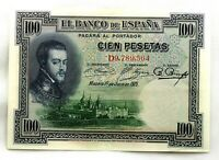 Spain-Billete. Felipe II. 100 Pesetas 1925. Madrid. Serie D. EBC/XF