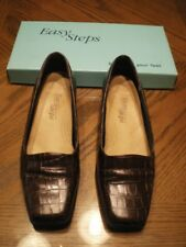 Pre-Loved Easy Steps Women's Court Shoes/Pumps - Brown Croc Leather  - Size 7.5