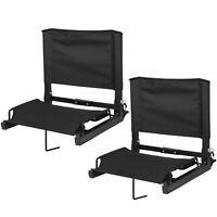 2 Pcs Stadium Seat Black Bleacher Gym Comfortable Watching Game W/ Stable Hook