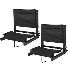 2 Pcs Stadium Seat Bleacher Gym Comfortable Watching Game W/ Stable Hook Black