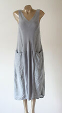 Crea Concept Pale Grey Linen & Jersey Lagenlook Midi Pocket Dress 38 UK 10/12