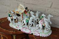 XL German Porcelain princess Coach Carriage 6 horses group statue