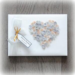Beautiful Luxury Personalised Wedding/ Anniversary Guest Book/ Handmade + Box