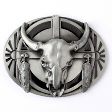 Vintage Longhorn Sliver Men's Belt Buckles for women Cowboy Native American Texa