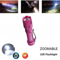 LED Pocket Torch Zoomable 350000 LM Portable Flashlight 3 Light Modes Red RI