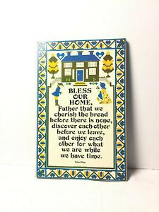 Bless Our Home Wall Art Plaque Richard Wong Blue Yellow Prayer Inspirational