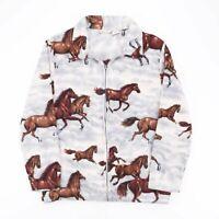 Vintage FASHION CLASSICS Horse Print Blue 90s Polyester Jacket Womens XL