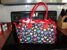 Dooney & Bourke Black w/Hearts w/Red Trim Handbag Getaway w/Draw String Ends BIG