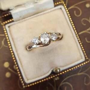 Natural Three Stone Diamond Wedding Engagement Ring Solid 14K White Gold Jewelry