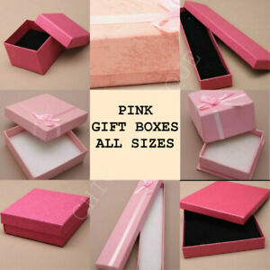 PINK GIFT BOX JEWELLERY RING NECKLACE BRACELET EARINGS LARGE BOXES ALL SIZES NEW
