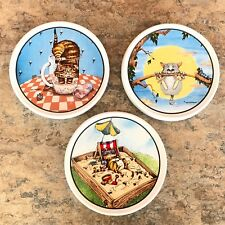 Set of 3 Gary Patterson Ceramic Cat Lovers Coasters - Clay Design Sandbox Tree