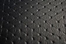 "Black Embossed Diamond Stitch Faux Leather Fabric Vinyl Upholstery 54""W Pleather"