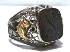 DESIGNER STERLING SILVER 10K GOLD DECO LOOK DUCK GEESE BIRD SIGNET CREST RING 12