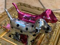 VICTORIA'S SECRET LOT 2 PINK BLACK SILVER METALLIC POLKA DOGS STUFFED ANIMAL NEW