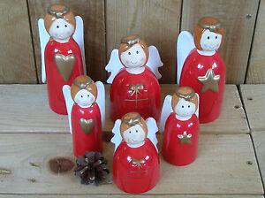 roter Engel mit Herz, Geschenk oder Stern, 6 Modelle