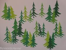 """30 assortment of pine trees 5 shades of green 2"""" - 2 1/2"""" die cuts"""