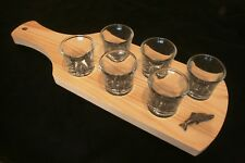 Salmon Fish 6 Shot Glasses In Wooden Tray Fishing Gift 310