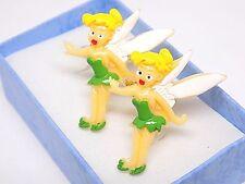 Handmade Disney Tinkerbell Cufflinks Silver Plated Toggles W/Gift Box