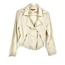 Guess Womens Jacket Coat Moto Cotton Beige Size XS Tan Blazer Comfort #2099
