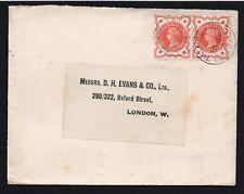 QV sg 197  1/2d vermilion pair VERY LATE USE 1914 Tintagle Cornwall S.O. pmk