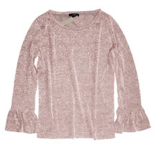J Crew - Womens M - NWT - Pale Pink Sparkle Bell Sleeve Glitter Tee/Knit Top