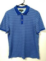 Men's Size Medium Banana Republic Luxury Touch Cotton Blue Striped Polo Shirt