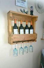 Rustic Wooden Wine Rack & Shelf - Natural
