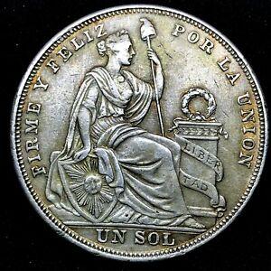 1924/824  PERU UN SOL   SILVER COIN ~ CROWN SIZE ~ KM#218.1