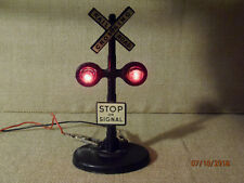 Vintage 50's MARX Toy Railroad Crossing Signal Sign Stop on Signal Lights,VG