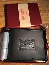 Mens Levis Original  Levi Black Tan Leather Wallet Gift Tin Brand New