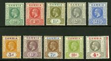 Gambia   1921-22  Scott # 87-96  Mint Lightly Hinged to Hinged Set
