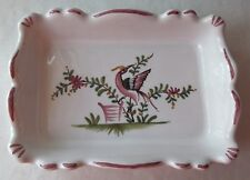 VNTG LALLIER MOUSTIERS FRENCH FAIENCE HANDPAINTED PENT A' LA MAIN TRINKET DISH