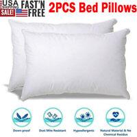 2PCS Goose Down Feather Bed Pillow Comfortable Soft Deep Sleep Pillows 20x26Inch
