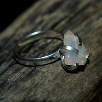 100% Natural Ethiopian Welo Fire Opal Rough Ring-925 Sterling Silver Women Ring