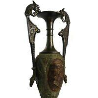 Unusual Noble & Dragon Vase Urn Repousse Metal Robin Hood Renaissance Style